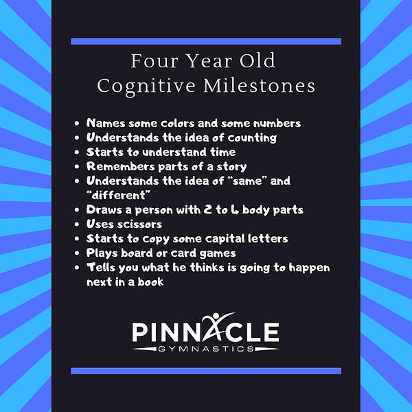 4 year old cognitive milestones