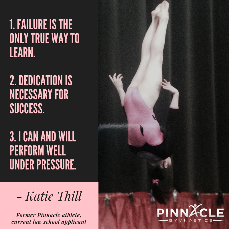 Gymnastics made me who I am today, and I continue to carry many of the life lessons it imparted on me. Most importantly, it taught me that failure is the only true way to learn, that dedication is necessary for succe