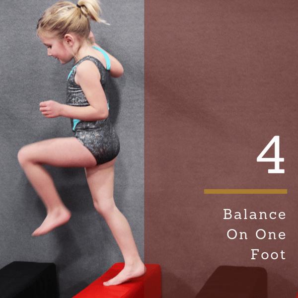 gross motor balance on one foot